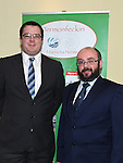 National Macra president Kieran O'Dowd and Vice President Paddy Delaney pictured at the Termonfeckin Macra reunion in the Boyne Valley hotel. Photo:Colin Bell/pressphotos.ie