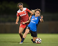 Boyds, MD - Saturday May 20, 2017: Mallory Pugh and Lo'eau Labonta during a regular season National Women's Soccer League (NWSL) match between the Washington Spirit and FC Kansas City at Maureen Hendricks Field, Maryland SoccerPlex.