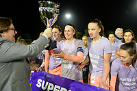 20190430 - OOSTAKKER , BELGIUM : Anderlecht's chairman Marc Coucke pictured with Laura De Neve and Tine De Caigny celebrating with the players and staff after winning the Superleague Championship after a womensoccer game between  AA Gent Ladies and RSC Anderlecht Dames  , during play-off 1 in the Belgian Women's Superleague, at the PGB Stadium in Oostakker , tuesday 30 th April 2019 . PHOTO SPORTPIX.BE | DAVID CATRY