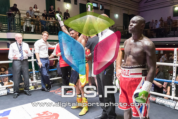 Erick Ochieng vs Freddy Kiwitt Southern Area Title Fight 10x3 - Welterweight Contest During Goodwin Boxing: Epsilon. Photo by: Simon Downing.<br /> <br /> Sunday 09th July 2017 - York Hall, Bethnal Green, London, United Kingdom.