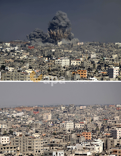 A combination of pictures made on July 7, 2015 shows (top) smoke rising fover Gaza city following an Israeli airstrike, on July 29, 2014, in Gaza City, and the same place (bottom) on July 7, 2015, a year after the 50-day war between Israel and Hamas' militants. Photo by Ashraf Amra