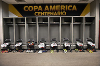 Glendale, AZ - Wednesday June 08, 2016:  Peru locker room prior to a Copa America Centenario Group B match between Ecuador (ECU) and Peru (PER) at University of Phoenix Stadium.