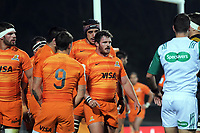 The Jaguares prepare to set a scrum during the Super Rugby match between the Chiefs and Jaguares at Rotorua International Stadum in Rotorua, New Zealand on Friday, 4 May 2018. Photo: Dave Lintott / lintottphoto.co.nz