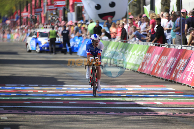 Arnaud Courteille (FRA) FDJ crosses the finish line of Stage 1 of the 2016 Giro d'Italia, an individual time trial of 9.8km around Apeldoorn, The Nethrerlands. 6th May 2016.<br /> Picture: Eoin Clarke | Newsfile<br /> <br /> <br /> All photos usage must carry mandatory copyright credit (&copy; Newsfile | Eoin Clarke)
