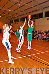 Jessica Scannell (Ireland) shoots as L Galvin (UL) tries in vain to block during their basketball game in Killarney Presentation Gym last Thursday night..