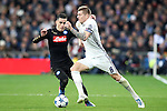 Real Madrid's Toni Kroos (r) and SSC Napoli's Jose Callejon during Champions League 2016/2017 Round of 16 1st leg match. February 15,2017. (ALTERPHOTOS/Acero)
