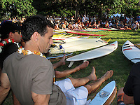 Waimea Bay, Hawaii, Thursday December 4 2008 .North Shore of Oahu,. The opening ceremony of the Quiksilver in Memory of Eddie Aikau Big Wave Invitational was held today at Waimea Bay.  This year's event celebrates the 24th anniversary of this unique big wave riding event. Photo: joliphotos.com