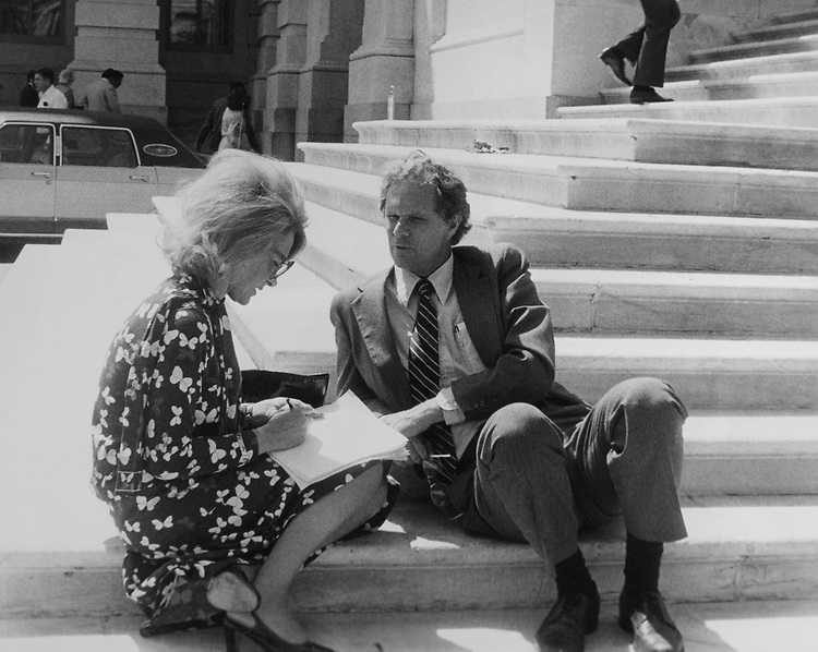 Roberta Hornig (Washington Star) interviews Rep. Andrew Maguire, D-N.J., on the Capitol Hill steps. (Photo by CQ Roll Call)