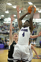 Fayetteville's Alonzo Releford (4) takes a shot Friday, Jan. 17, 2020, over Bentonville's Colton Simmons during the first half of play in Bulldog Arena in Fayetteville. Visit nwaonline.com/prepbball/ for a gallery from the games.<br /> (NWA Democrat-Gazette/Andy Shupe)