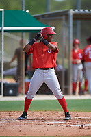 GCL Nationals Edwin Ventura (15) at bat during the first game of a doubleheader against the GCL Marlins on July 23, 2017 at Roger Dean Stadium Complex in Jupiter, Florida.  GCL Nationals defeated the GCL Marlins 4-0.  (Mike Janes/Four Seam Images)