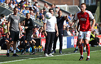 Fleetwood Town manager Joey Barton  shouts instructions to his team from the dug-out <br /> <br /> Photographer Stephen White/CameraSport<br /> <br /> The EFL Sky Bet League One - Fleetwood Town v AFC Wimbledon - Saturday 4th August 2018 - Highbury Stadium - Fleetwood<br /> <br /> World Copyright &copy; 2018 CameraSport. All rights reserved. 43 Linden Ave. Countesthorpe. Leicester. England. LE8 5PG - Tel: +44 (0) 116 277 4147 - admin@camerasport.com - www.camerasport.com