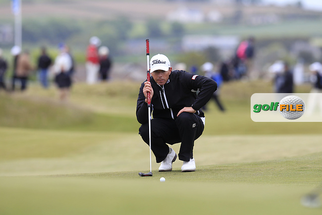Soren HANSEN (DEN) on the 18th green during Saturday's Round 3 of the 2015 Dubai Duty Free Irish Open, Royal County Down Golf Club, Newcastle Co Down, Northern Ireland 5/30/2015<br /> Picture Eoin Clarke, www.golffile.ie