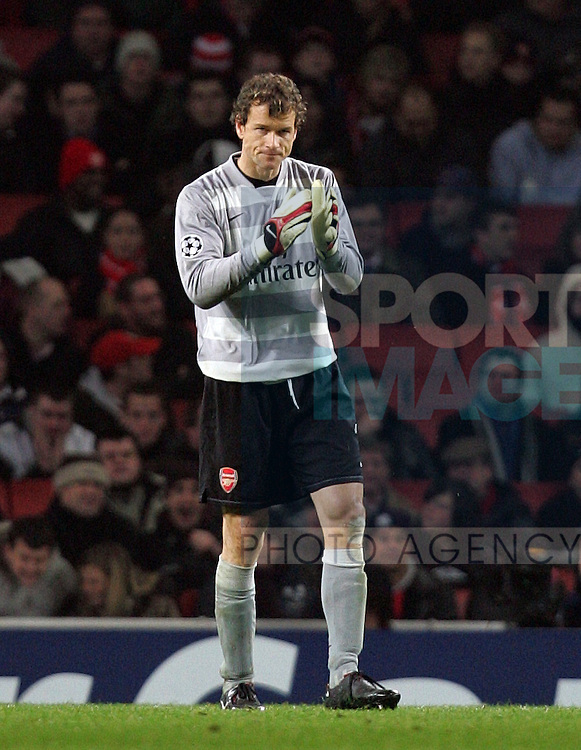 Arsenal's Lens Lehmann claps during their UEFA Champions League, Group H football match, at the Emirates Stadium, London, 12th December 2007.