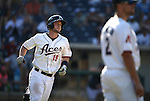 Reno Aces' Dan Rohlfing hits a two-run homer against the Tacoma Rainiers at Greater Nevada Field in Reno, Nev., on Sunday, Aug. 28, 2016. <br /> Photo by Cathleen Allison
