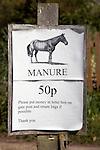 Horse manure 50p a bag sign
