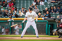 Marc Krauss (39) of the Salt Lake Bees at bat against the Sacramento River Cats in Pacific Coast League action at Smith's Ballpark on April 17, 2015 in Salt Lake City, Utah.  (Stephen Smith/Four Seam Images)