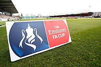 A general view of an Emirates FA Cup sign at Rodney Parade prior to kick off of the Fly Emirates FA Cup Fourth Round match between Newport County and Tottenham Hotspur at Rodney Parade, Newport, Wales, UK. Saturday 27 January 2018