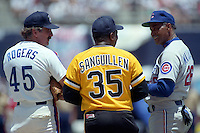 Former Montreal Expos Steve Rogers (45), Pittsburgh Pirates Manny Sanguillen (35) and Chicago Cubs Billy Williams (26) during an old timers game during the Major League Baseball All-Star break at Jack Murphy Stadium  in San Diego, California.  (MJA/Four Seam Images)
