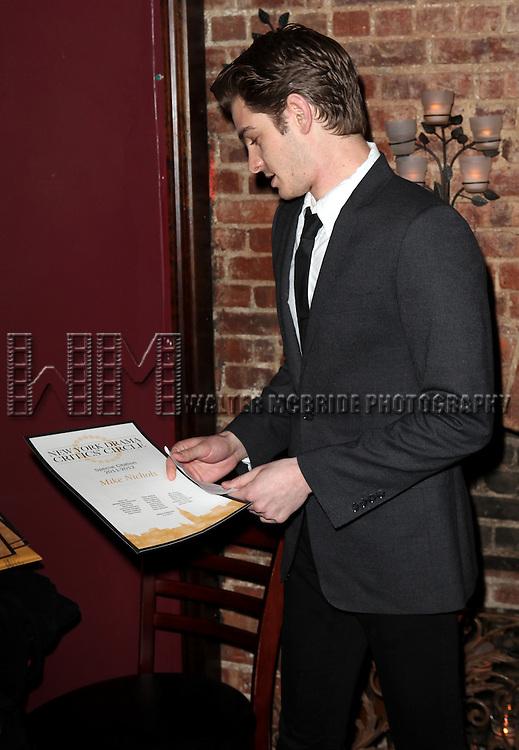 Andrew Garfield presents award to Mike Nichols.at the New York Drama Critics' Circle Awards at Angus McIndoe in New York City on 5/14/2012.