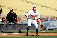 February 28 2010: Mark Ginther of Oklahoma State during game against Vanderbilt at Dodger Stadium in Los Angeles,CA.  Photo by Larry Goren/Four Seam Images