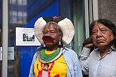 10 June 2014. Kayapo Chiefs Raoni Metuktire and Megaron Txucarramae during their visit to London. The chiefs arrive at University College, London for a public meeting.