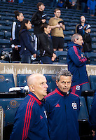 Chicago fire head coach Frank Klopas waits for the game to start before a Major League Soccer match at PPL Park in Chester, PA.  Philadelphia defeated Chicago, 1-0.
