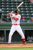 Infielder Mookie Betts (7) of the Greenville Drive in a game against the Charleston RiverDogs on Saturday, April 6, 2013, at Fluor Field at the West End in Greenville, South Carolina. Charleston won Game 1 of a doubleheader, 6-2. (Tom Priddy/Four Seam Images)