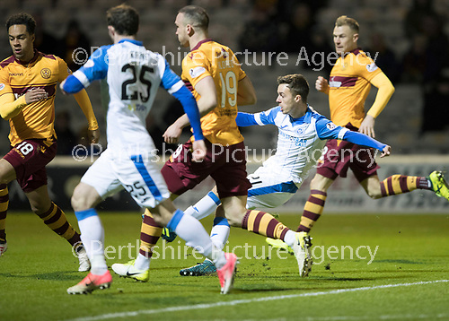 Motherwell v St Johnstone&hellip;06.02.18&hellip;  Fir Park&hellip;  SPFL<br />Stefan Scougall&rsquo;s shot is saved<br />Picture by Graeme Hart. <br />Copyright Perthshire Picture Agency<br />Tel: 01738 623350  Mobile: 07990 594431