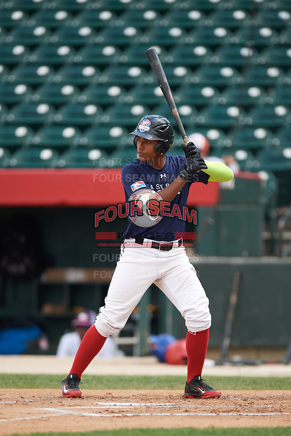 Alberto Fabian (9) at bat during the Dominican Prospect League Elite Underclass International Series, powered by Baseball Factory, on July 31, 2017 at Silver Cross Field in Joliet, Illinois.  (Mike Janes/Four Seam Images)