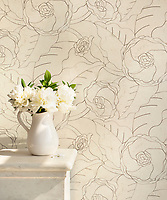 Chloe, a stone waterjet mosaic; show in honed Bianco Antico, is part of the Bright Young Things™ collection by New Ravenna.