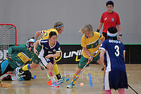 Japan&rsquo;s Hitomi Sugaya and Australia&rsquo;s Ashlegh Bourke in action during the World Floorball Championships 2017 Qualification for Asia Oceania Region Final - Australia v Japan at ASB Sports Centre , Wellington, New Zealand on Sunday 5 February 2017.<br /> Photo by Masanori Udagawa<br /> www.photowellington.photoshelter.com.