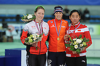 SPEED SKATING: STAVANGER: Sørmarka Arena, 31-01-2016, ISU World Cup, Podium 1000m Ladies Division B, Kali Christ (CAN), Janine Smit (NED), Xue Zhan (CHN), ©photo Martin de Jong