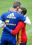 Spain's David De Gea (l) and Jordi Alba during preparing training stage to Euro 2016. May 30,2016.(ALTERPHOTOS/Acero)
