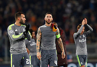 Calcio, andata degli ottavi di finale di Champions League: Roma vs Real Madrid. Roma, stadio Olimpico, 17 febbraio 2016.<br /> Real Madrid's Sergio Ramos leaves the pitch at the end of the first leg round of 16 Champions League football match between Roma and Real Madrid, at Rome's Olympic stadium, 17 February 2016. Real Madrid won 2-0.<br /> UPDATE IMAGES PRESS/Riccardo De Luca