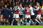 Christian Benteke of Aston Villa and Tottenham's Roberto Soldado square up - Aston Villa vs. Tottenham Hotspurs - Barclay's Premier League - Villa Park - Birmingham - 02/11/2014 Pic Philip Oldham/Sportimage