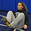 Claudia Zieba, Copiague High School junior, does exercises to strengthen her core during practice at Copiague High School on Tuesday, Jan. 31, 2017.