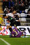Rayo Vallecano´s Alberto Bueno and Malaga CF´s goalkeeper Idriss Carlos Kameni and Weligton Robson during 2014-15 La Liga match between Rayo Vallecano and Malaga CF at Rayo Vallecano stadium in Madrid, Spain. March 21, 2015. (ALTERPHOTOS/Luis Fernandez)