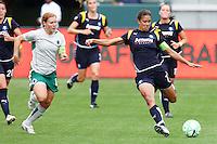 Shannon Boxx #7 of the Los Angeles Sol pushes the ball up the field against Lory Chalupny #17 of St. Louis Athletica during their WPS game at Home Depot Center on May 30, 2009 in Carson, California. LA Sol defeated  St. Louis Athletic 2-0.