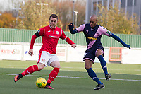 Alex Read of Harlow Town lays the ball off under pressure from Sanchez Ming of Dulwich Hamlet during Harlow Town vs Dulwich Hamlet, Buildbase FA Trophy Football at The Harlow Arena on 11th November 2017