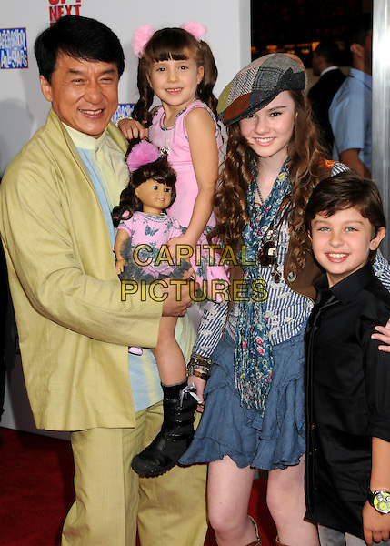 "JACKIE CHAN, ALINA FOLEY, MADELINE CARROLL & WILL SHADLEY.""The Spy Next Door"" Los Angeles Premiere held at The Grove,  Los Angeles, California, USA, .9th January 2010..half length shirt jacket  suit green yellow  kids children carrying holding .CAP/ADM/BP.©Byron Purvis/Admedia/Capital Pictures"