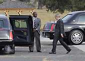 Fort Meade, MD - October 24, 2008 -- United States President George W. Bush walks to his limousine after a closed door intelligence briefing at the National Security Agency in Fort Meade, Maryland on Friday, October 24, 2008. <br /> Credit: Yuri Gripas / Pool via CNP