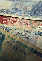 A mixture of old drachma paper notes