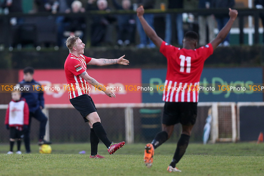 Teddy Nesbitt of Hornchurch scores the first goal for his team and celebrates during AFC Hornchurch vs Romford, Ryman League Division 1 North Football at Hornchurch Stadium on 4th February 2017