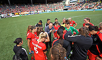 Portland, Oregon - Sunday September 4, 2016: Portland Thorns FC head coach Mark Parsons addresses the team after the win during a regular season National Women's Soccer League (NWSL) match at Providence Park.