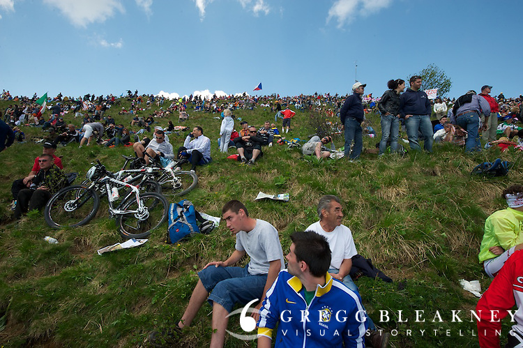 Fans lining the Zoncolan--several thousand cyclists pre-suffered the climb for prime viewing locations.