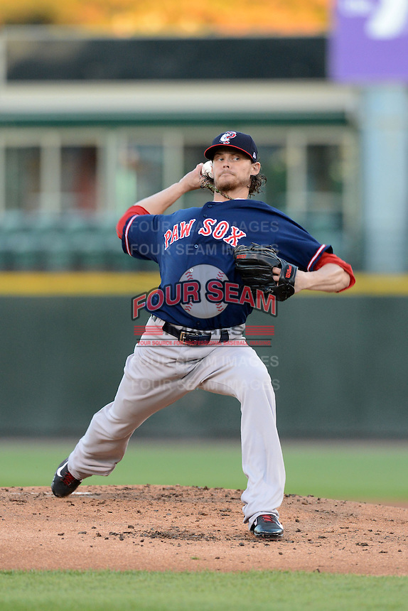 Pawtucket Red Sox pitcher Clay Buchholz (11), on rehab assignment from the Boston Red Sox, delivers a pitch during an International League playoff game against the Rochester Red Wings on September 5, 2013 at Frontier Field in Rochester, New York.  Pawtucket defeated Rochester 7-2.  (Mike Janes/Four Seam Images)
