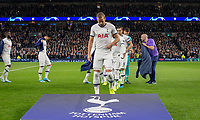 Harry Kane of Spurs leads his team for a pre match team photo before the UEFA Champions League group match between Tottenham Hotspur and Bayern Munich at Wembley Stadium, London, England on 1 October 2019. Photo by Andy Rowland.