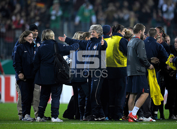 Pia Sundhage celebrates after the game. US Women's National Team defeated Germany 1-0 at Impuls Arena in Augsburg, Germany on October 27, 2009.