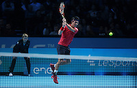 Kei Nishikori (JPN)(5) action against Marin Cilic (CRO)(7) in their John McEnroe  Group  match during Day Six of the Barclays ATP World Tour Finals 2016 played at The O2 Arena, London on November 18th  2016
