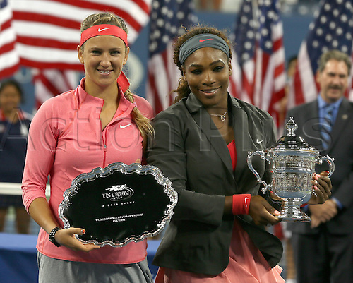 08.09.2013 New York, America. Serena Williams and Victoria Azarenka during the award ceremony after the womens US Open final at Flushing Meadows.